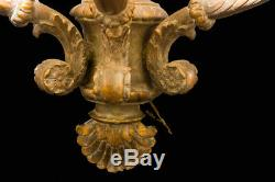 Antique Louis XIV French HUGE Wooden 3 Arm Candle Wall Sconce Hand Carved 28.5H