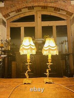 Antique Louis XV Style Bedside Lamps, Pair Table Lamps, French Ormolu Bronze