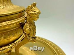 Antique Louis XV Style French Gilt Bronze Inkwell 1880 by Delarue Paris
