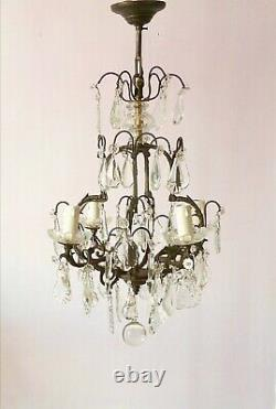 Antique Louis XV style bronze and crystal chandelier with exquisite grey patina