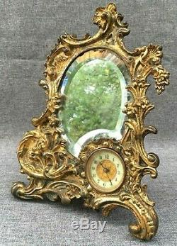 Antique Louis XV style french table clock mirror bronze 19th century