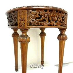 Antique Louis XVI French Side Table Hand Carved Flowers & Leaves Carrara Marble