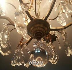 Antique Original French Louis XV Crystal Chandelier Bronze Cameo Lamp Cage 3 Arm