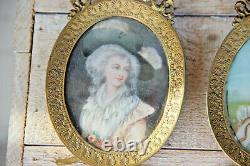 Antique PAIR French miniature paint portraits lady josephine napoleon louis XVI