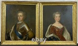 Antique Pair 18th C. French Portraits King Louis XV in Armor & Queen, Christies