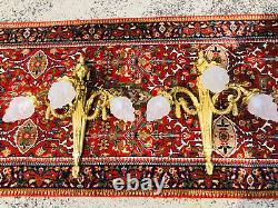 Antique Pair French Bronze Louis XV Rams Head Sconces Three Light Refitted