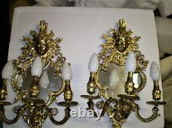 Antique Pair French rococo sconces with Louis15th Girandole Mirror Candelabra