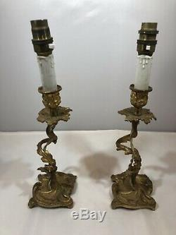 Antique Pair Of French Louis XV Style Candelabra Table Lamp