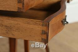 Antique Pair of French Louis Tulipwood Parquetry Serpentine Bedside Nightstands