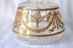 Antique Saint Louis crystal gold engraved decanter and glass end 19th century
