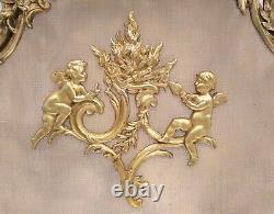 Antique Set French Louis XV Rococo Putti Cherub Angel Fireplace Screen & Chenets