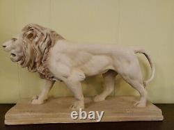 Antique Signed Barye Lion Plaster Statue French Antoine Louis Realistic Fine Art