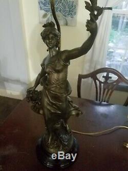 Antique Spelter Statue Lamp by Louis Moreau of France 1834-1917