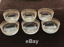 Antique St. Louis Crystal Finger Bowl set 6 with plates Superb Quality EC NR