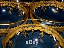 Antique St Louis Massenet Variant STL22 Gold Gilt Etched Finger Bowl Set of SIX