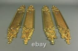 Antique Style LOUIS XV French Gold Brass Metal Door Handle Finger Plate 2 Pairs
