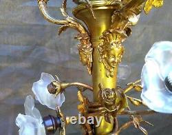 Antique Superb Jansen Medusa Faces Floral Louis XVI French Bronze Chandelier