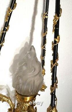 Antique Superb & Ornate Ram Heads Louis XVI French Bronze Chandelier Restored
