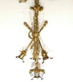 Antique Very Rare Exquisite French Louis XVI Crossed Bronze Chandelier Restored