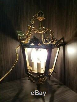 Antique Vtg French Louis Lantern Chandelier Gilt Bronze Ceiling Light Fixture