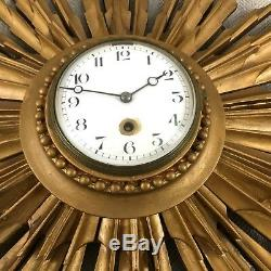 Antique Wall Clock Gold Sunburst French Louis XVI Style Art Deco Working 8 Day