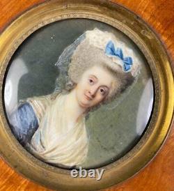 Antique c. 1770s French Portrait Miniature of Woman, Louis XVI, Marie-Antoinette