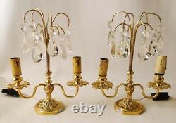 Antique french Louis XV bronze & glass Lamp pair of table candelabra