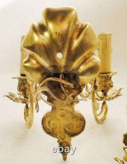 Antique french Louis XV style pair of sconces Solid bronzes Leaves flowers shell