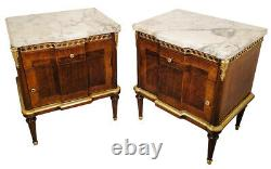 Antique french Louis XVI style pair of night stands Walnut wood (1355)