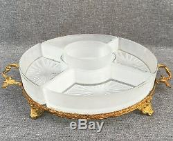 Antique french plate tray made of bronze and crystal early 1900's Louis XV style