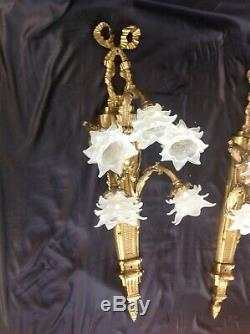 Antique pair of French empire Louis XV 1Meter long gold bronze/Brass wall lights