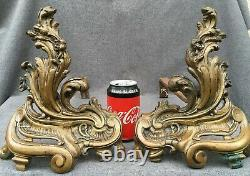 Antique pair of french Louis XV style bronze andirons early 1900's Rocaille 8lb