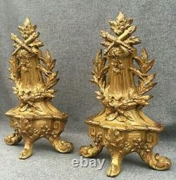 Antique pair of french Louis XVI style andirons 19th century gilded bronze 6lb