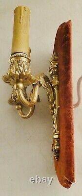 Antique pair of french bronze Louis XV sconces solid chiselled & polishe bronze