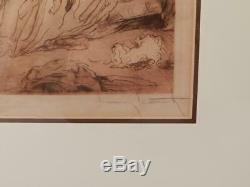 AntiqueVintage Pencil Signed EtchingLOUIS ICARTFrench Bedroom SceneVGC