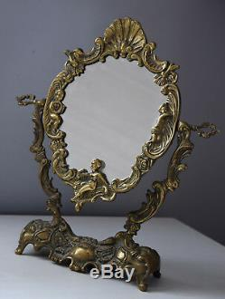 Art deco, French stand mirror, bronze frame, Style Louis XV