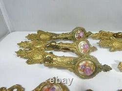 Assorted French Louis 16th Painted Porcelain And Dore Bronze Cabinet Hardware