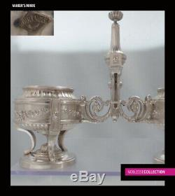 BOULENGER ANTIQUE 1880s FRENCH STERLING SILVER SALT CELLARS Louis XVI style