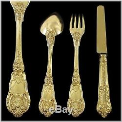 BUZOT 54pc Antique French Louis-Philippe Vermeil Silver Dessert Flatware Set