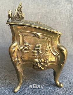 Big antique Louis XV style french jewelry box bronze 19th century heavy