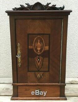Big antique french Louis XV style liquor cellar early 1900's marquetry bronze