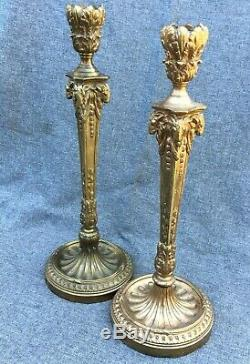 Big antique pair of french candlesticks lamp bases Louis XVI style bronze 1900's