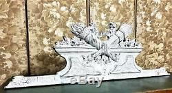Bow ribon louis XVI wood carving pediment Antique french architectural salvage