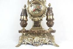 Brass Clock Set French style Louis xv with Marble
