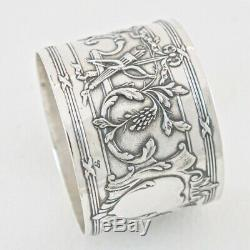 C. 1900 Antique French Sterling Silver Napkin Ring Holder Louis XVI 950 No Initia