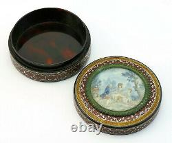 C1770, ANTIQUE 18thC FRENCH LOUIS XV VERNIS MARTIN LACQUER PAINTED SNUFF BOX