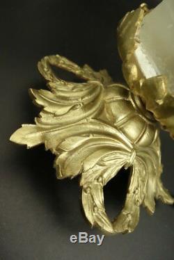Ceiling Lamp, Laurel Wreaths Decor, Louis XVI Style Bronze French Antique