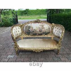 Contemporary New French Louis XVI Style Tan Sofa