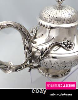 DEBAIN ANTIQUE 1880s FRENCH STERLING SILVER TEAPOT TEA POT LOUIS XVI Acanthus
