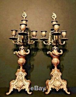 Decadent 19th Century Antique French Art Noveau Era Bronze Louis XVI Candelabra